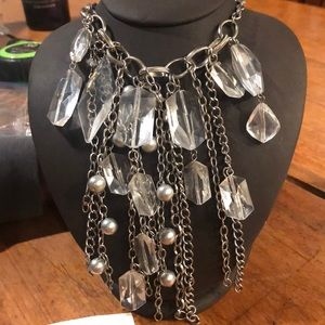 Jewelry - Silver tone lucite bead necklace